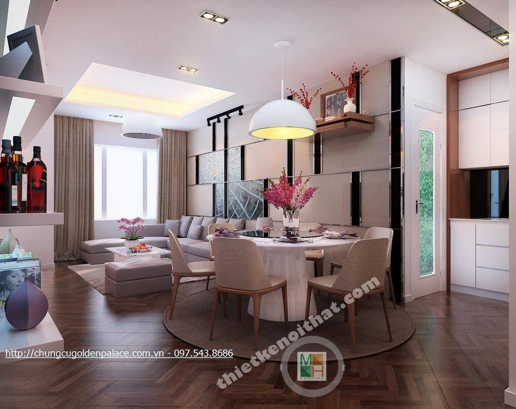 Thiết kế nội thất phòng khách chung cư Golden Palace Mễ Trì Nam Từ LiêmHà Nội