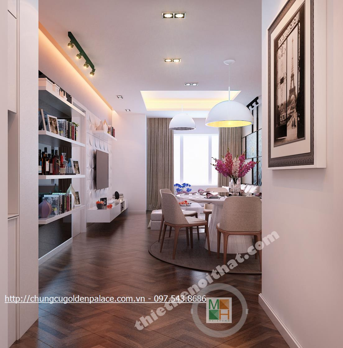 Thiết kế nội thất chung cư Golden Palace hiện đại