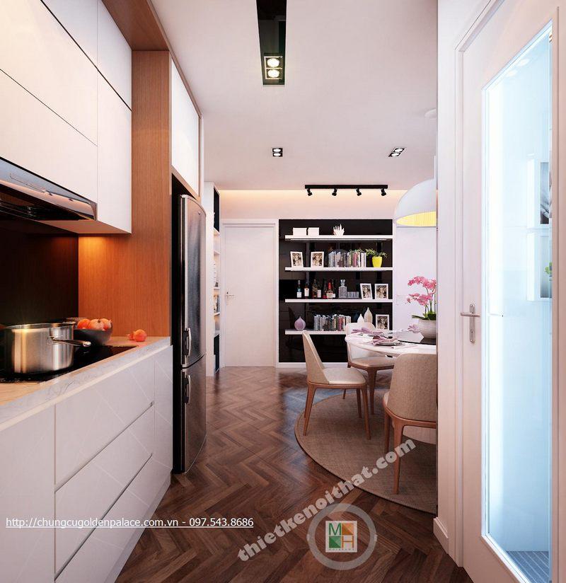 Thiết kế nội thất phòng bếp chung cư Golden Palace Mễ Trì Nam Từ LiêmHà Nội