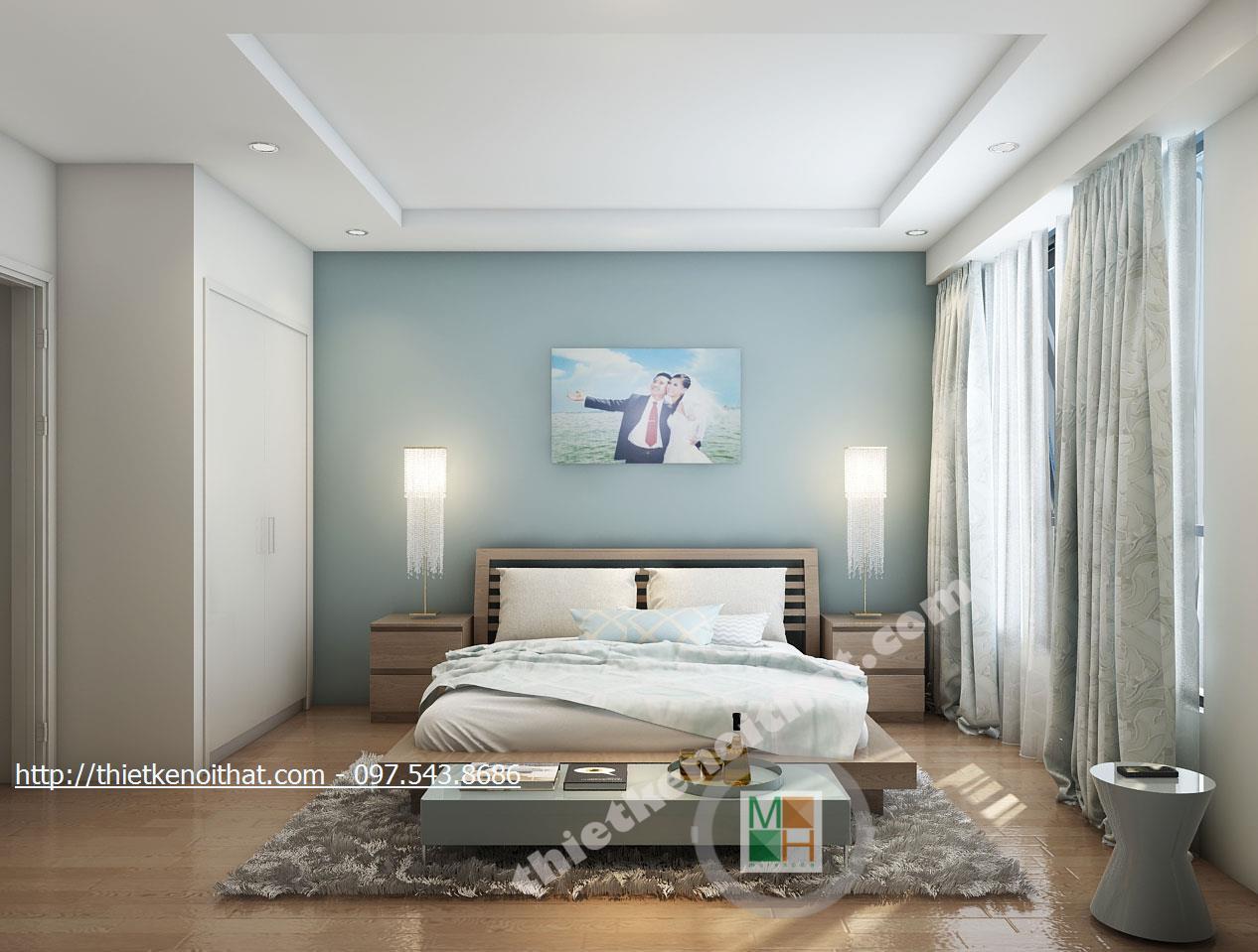 Thiết kế nội thất phòng ngủ chung cư Timescity Hai Bà Trưng phong cách hiện đại sang trọng