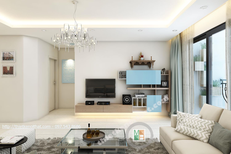Thiết kế nội thất phòng khách chung cư Timescity Hai Bà Trưng phong cách hiện đại sang trọng