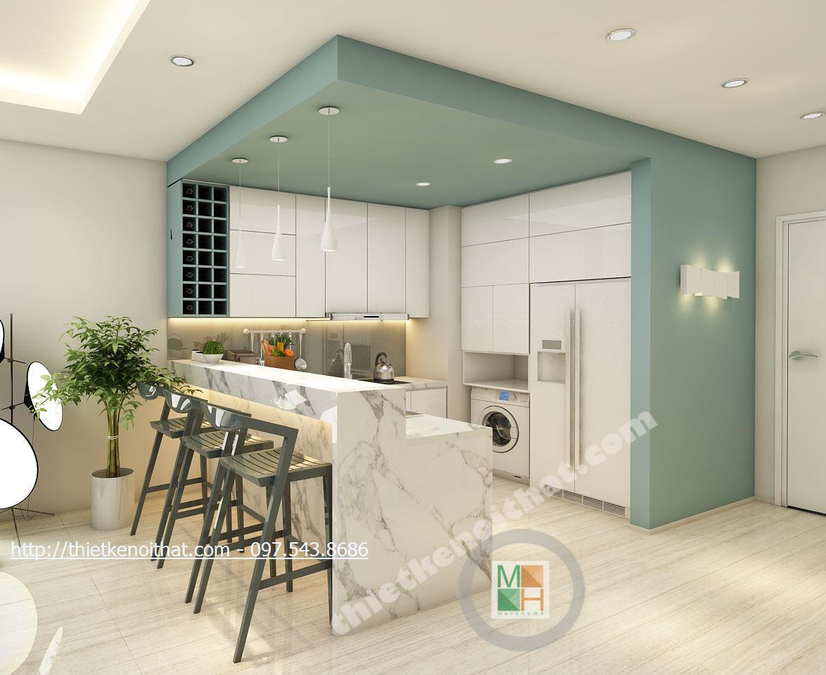 Thiết kế nội thất phòng bếp chung cư Timescity Hai Bà Trưng phong cách hiện đại sang trọng
