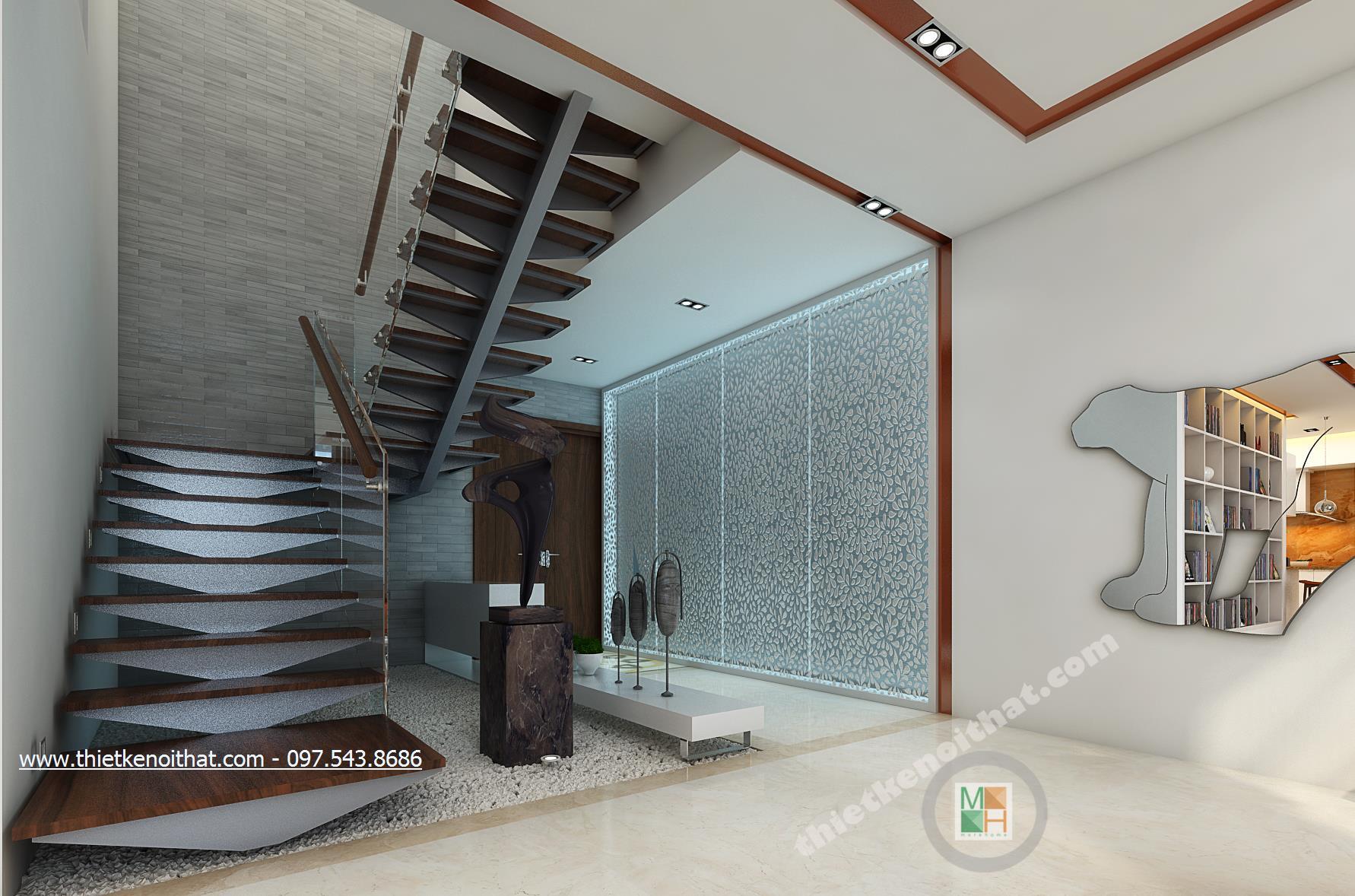 Thiết kế nội thất cầu thang chung cư Duplex Mandarin Garden phong cách hiện đại đẹp