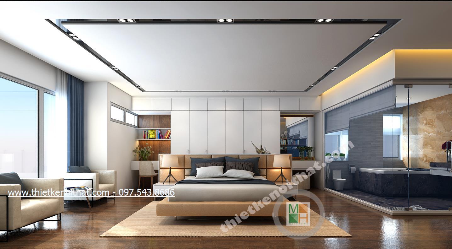 Thiết kế nội thất phòng ngủ Master chung cư Duplex Mandarin Garden phong cách hiện đại đẹp