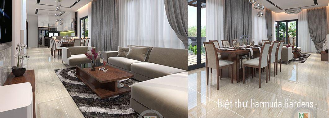 Thiết kế nội thất phòng khách biệt thự hiện đại Gamuda Garden Yên SởHoàng MaiHà Nội