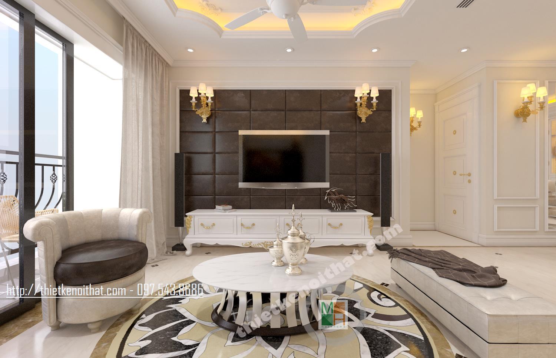 Thiết kế nội thất chung cư cao cấp Hòa Bình Green Hai Bà Trưng phong cách tân cổ điển