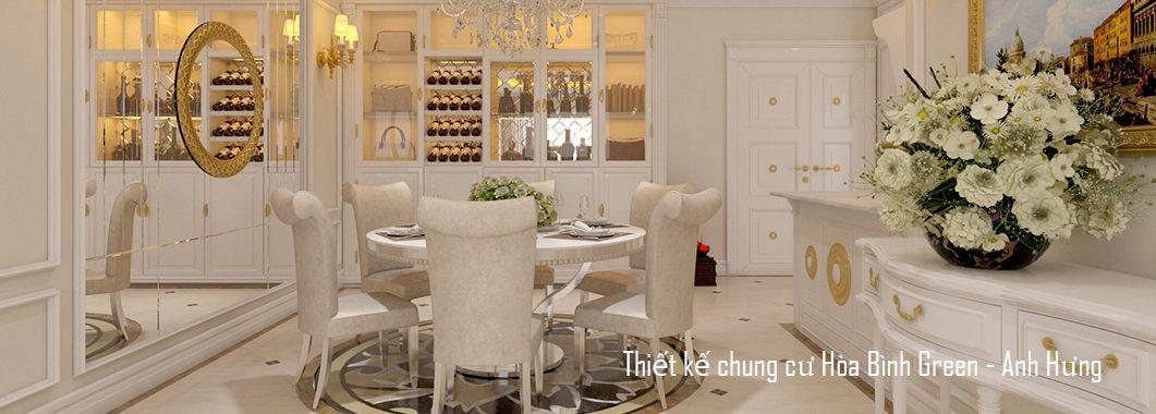 Thiết kế nội thất phòng ăn chung cư Hòa Bình Green Minh Khai Vĩnh Tuy Hai Bà Trưng