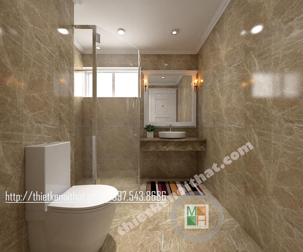 Thiết kế nội thất phòng tắm chung cư Hòa Bình Green Minh Khai Vĩnh Tuy Hai Bà Trưng