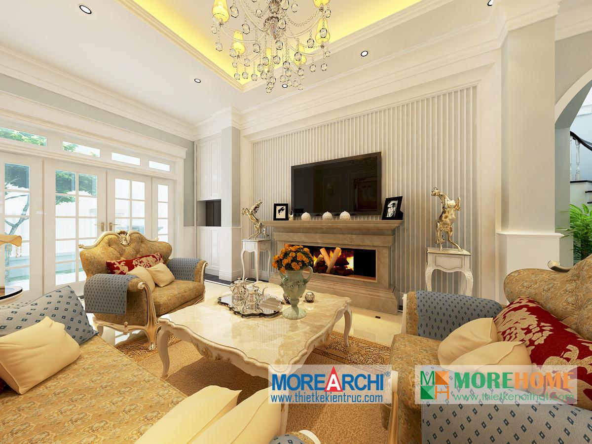 Thiết kế nội thất phòng khách biệt thự cao cấp cổ điển Mỹ Đình phong cách tân cổ điển