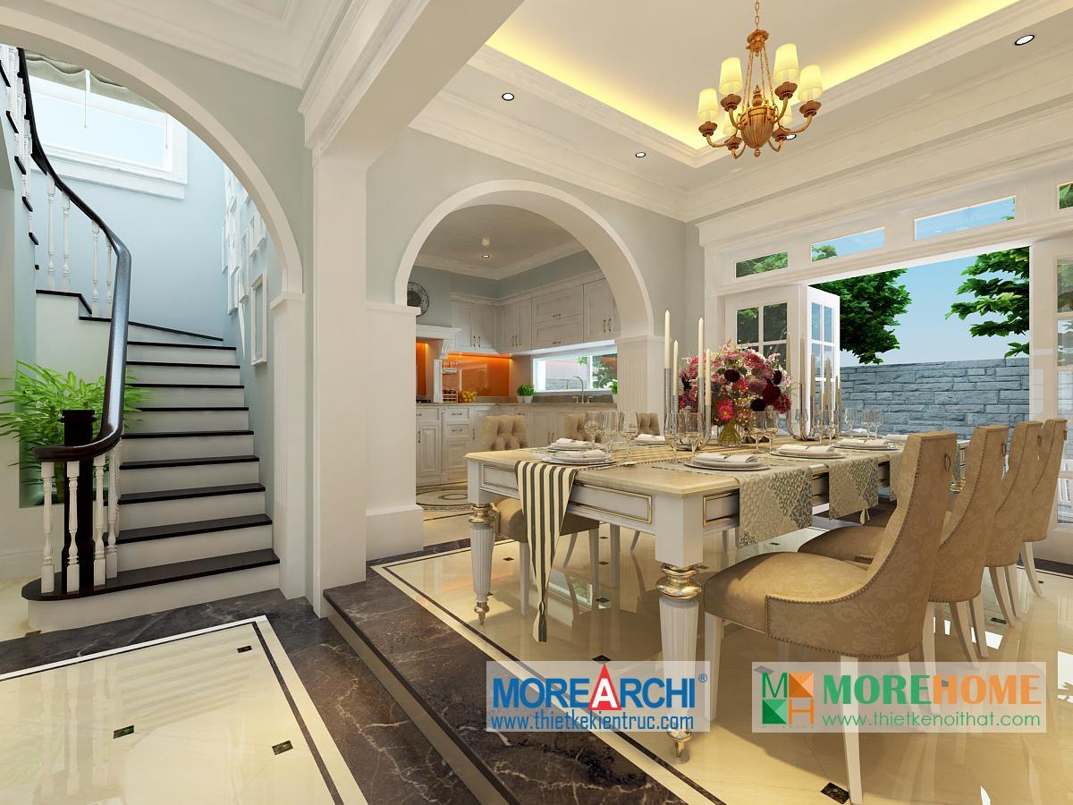 Thiết kế nội thất phòng bếp biệt thự cao cấp cổ điển Mỹ Đình phong cách tân cổ điển