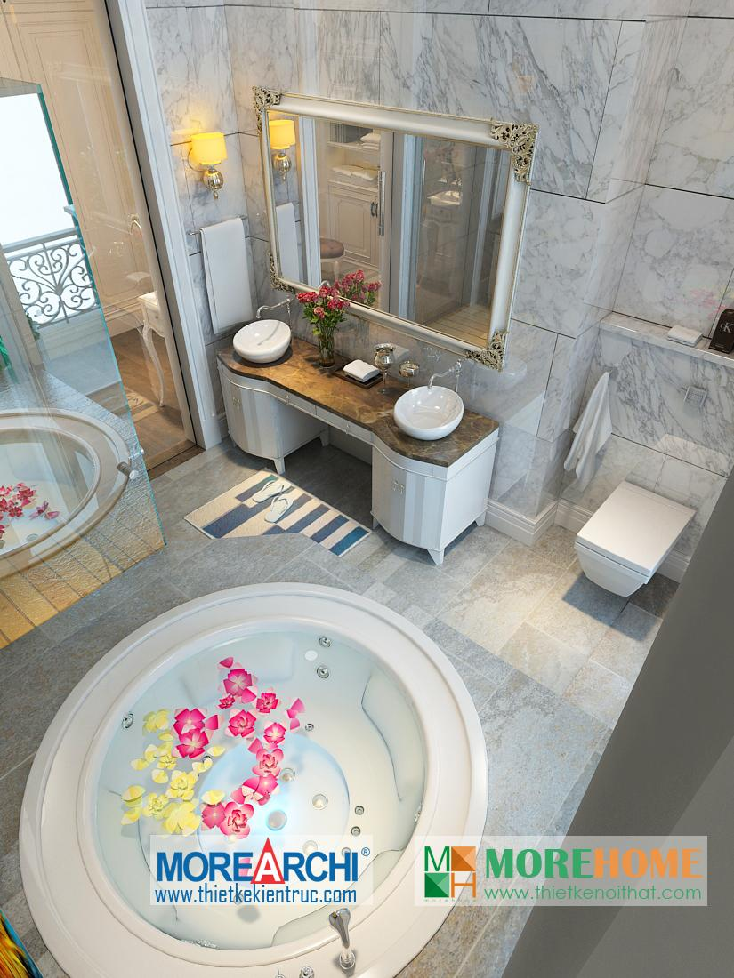 Thiết kế nội thất phòng tắm biệt thự cao cấp cổ điển Mỹ Đình phong cách tân cổ điển
