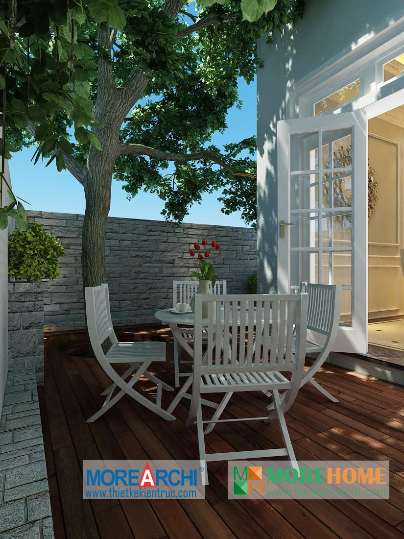 Thiết kế sân vườn biệt thự cao cấp cổ điển Mỹ Đình phong cách tân cổ điển