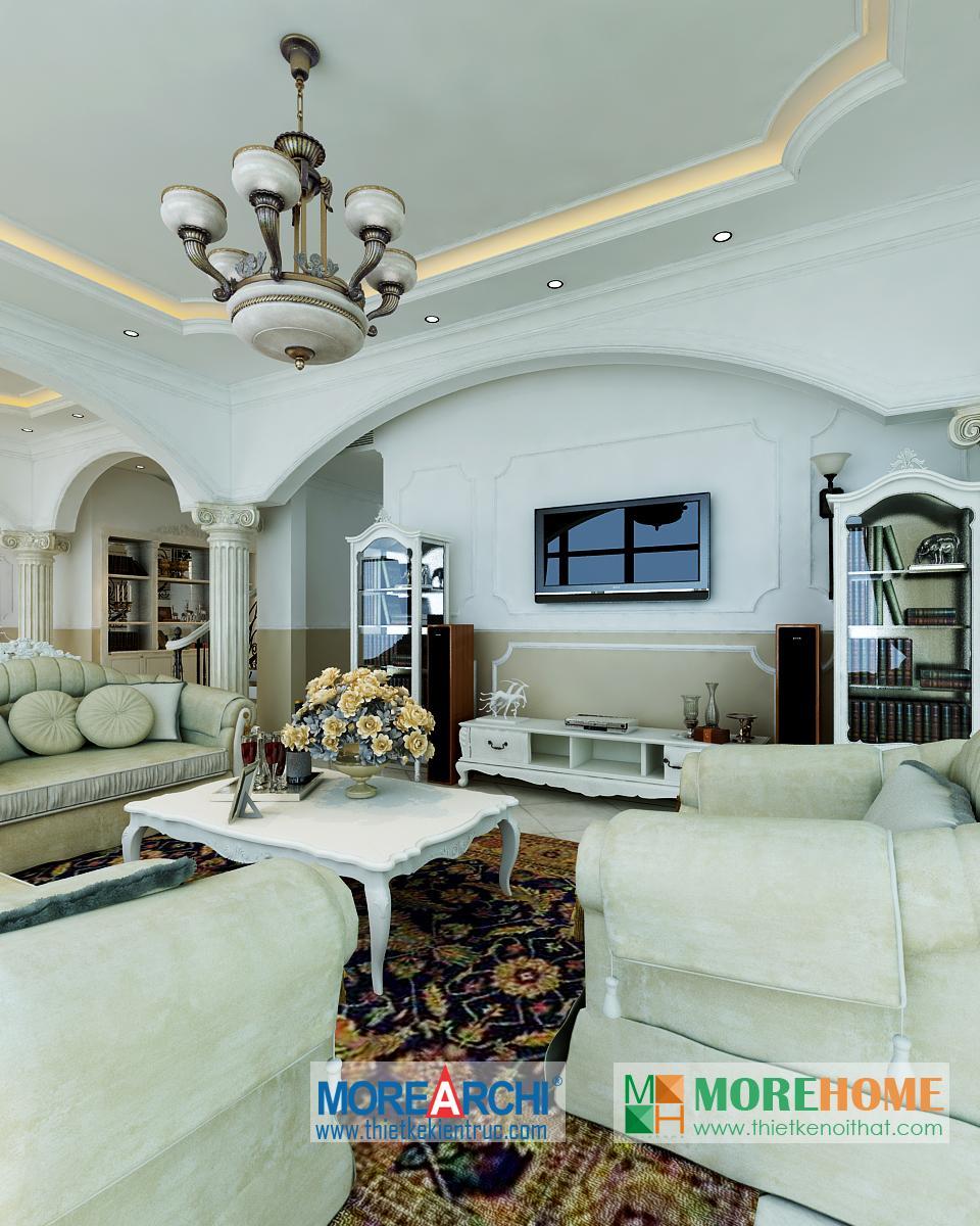 Thiết kế kiến trúc nội thất biệt thự RiverSide Long Biên tân cổ điển