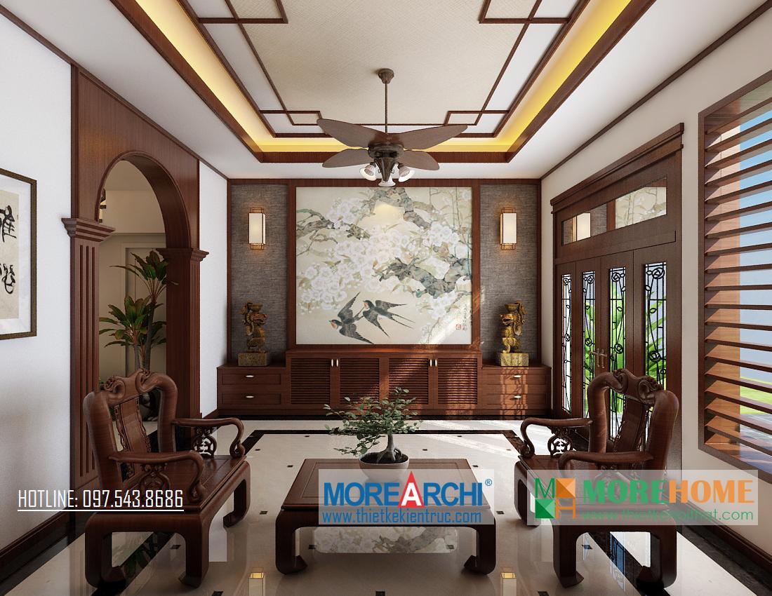 Thiết kế nội thất phòng khách biệt thự gỗ việt Nguyễn Chí Thanh Đống Đa Hà Nội phong cách hiện đại