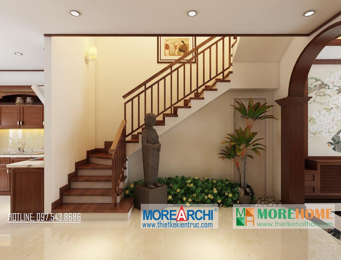 Thiết kế nội thất cầu thang biệt thự gỗ việt Nguyễn Chí Thanh Đống Đa Hà Nội phong cách hiện đại