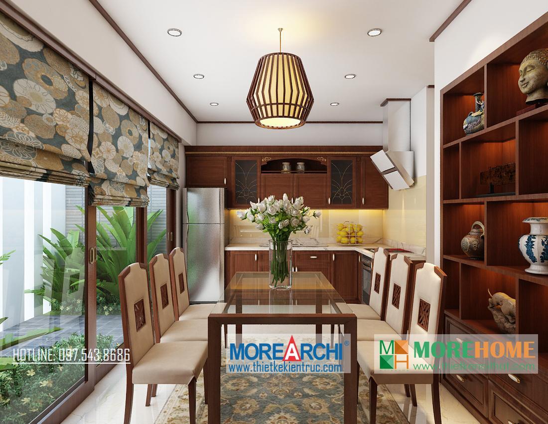 Thiết kế nội thất phòng ăn biệt thự gỗ việt Nguyễn Chí Thanh Đống Đa Hà Nội phong cách hiện đại