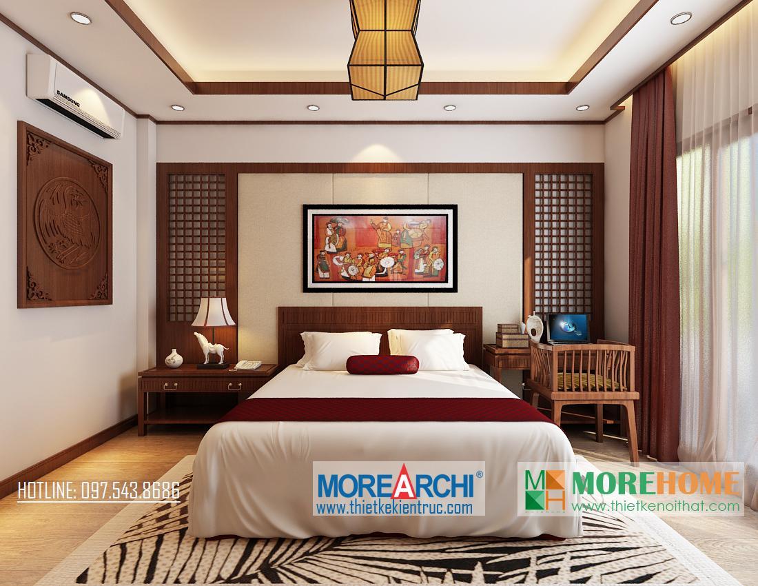 Thiết kế nội thất phòng ngủ biệt thự gỗ việt Nguyễn Chí Thanh Đống Đa Hà Nội phong cách hiện đại