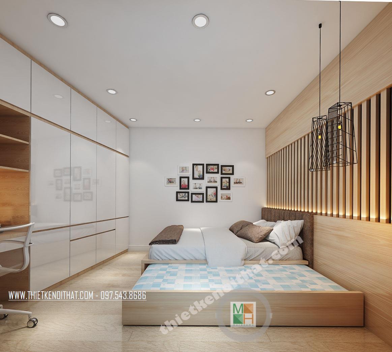 Thiết kế nội thất phòng ngủ chung cư Bà Triệu Hoàn Kiếm phong cách hiện đại