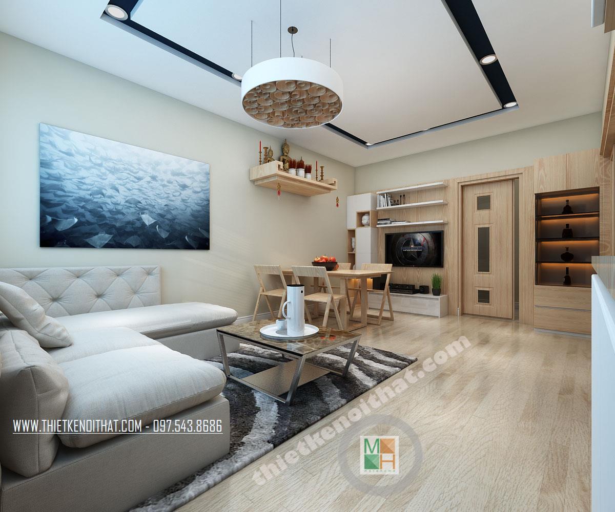 Thiết kế phòng khách căn hộ chung cư Bà Triệu Hoàn Kiếm Hà Nội