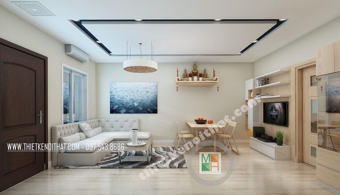 Thiết kế nội thất phòng khách chung cư Bà Triệu Hoàn Kiếm phong cách hiện đại