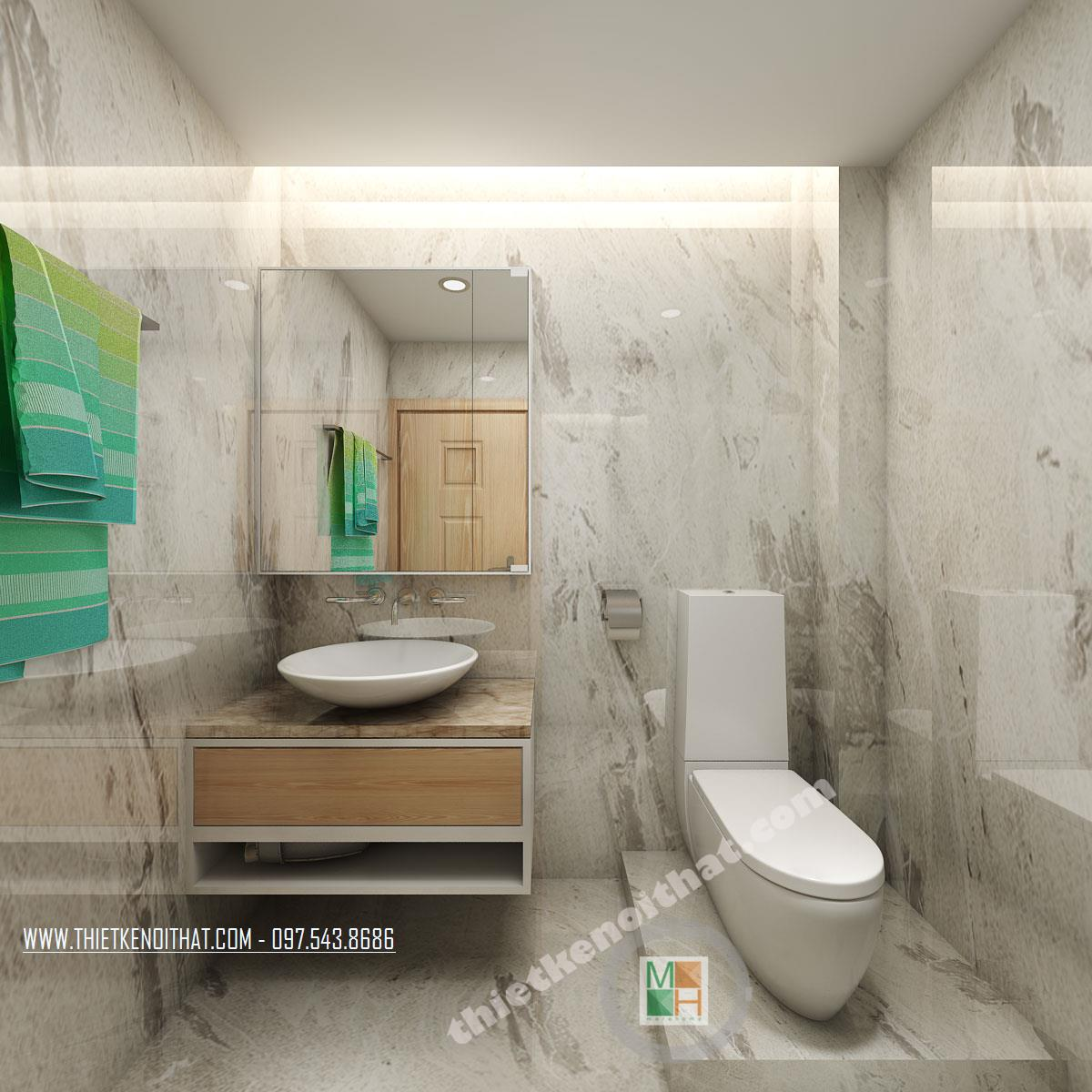 Thiết kế nội thất phòng tắm chung cư Bà Triệu Hoàn Kiếm phong cách hiện đại