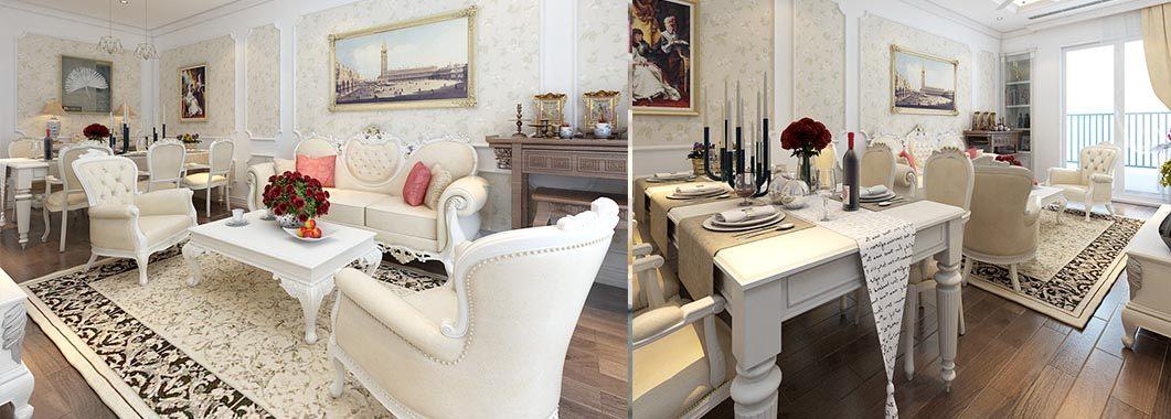 Thiết kế nội thất chung cư tân cổ điển Golden Palace