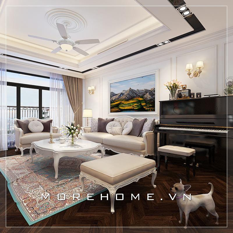 Thiết kế nội thất phòng khách có piano