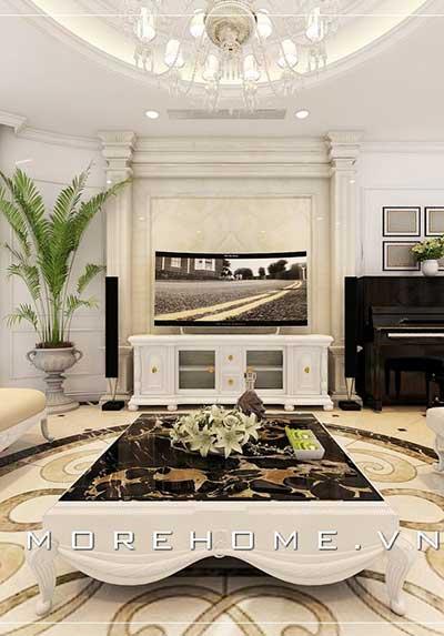 Thiết kế nội thất phòng khách có đàn piano đẹp, sang trọng, tinh tế