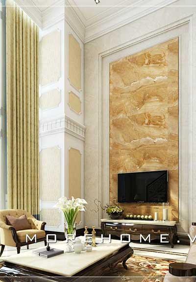 Tổng hợp 43 mẫu đá ốp tường phòng khách siêu đẹp, sang trọng, độc đáo.