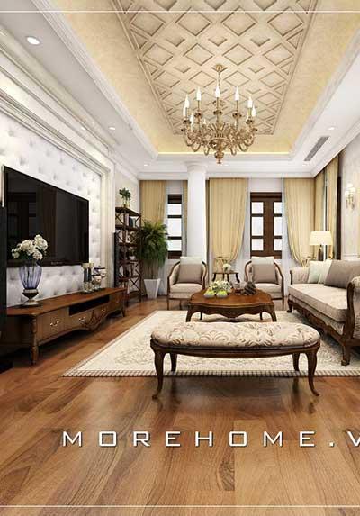 Thiết kế nội thất phòng khách gỗ óc chó hiện đại, tân cổ điển,.. đẹp