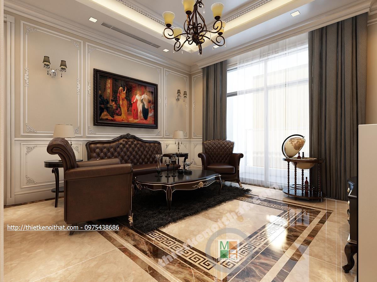Thiết kế nội thất phòng khách chung cư Vincom Bà Triệu Hai Bà Trưng phong cách tân cổ điển sang trọng
