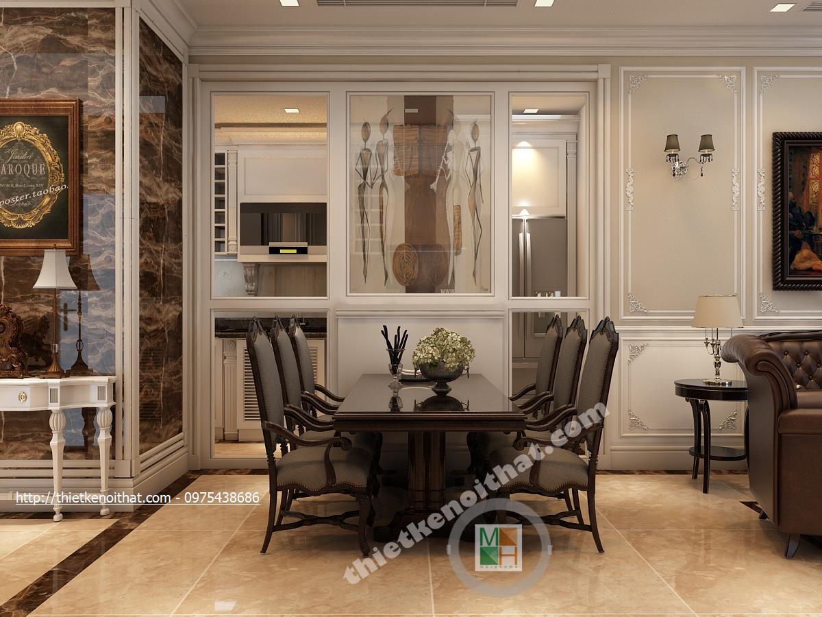 Thiết kế nội thất phòng bếp chung cư Vincom Bà Triệu Hai Bà Trưng phong cách tân cổ điển sang trọng