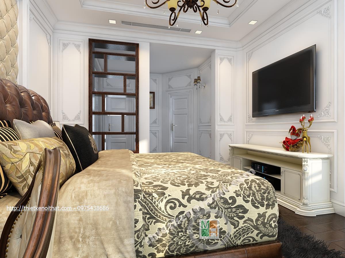 Thiết kế nội thất phòng ngủ chung cư Vincom Bà Triệu Hai Bà Trưng phong cách tân cổ điển sang trọng
