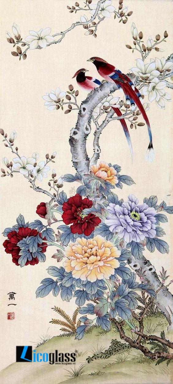 Tranh kính phong cảnh mùa xuân - mẫu 26