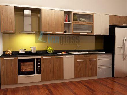 Kính màu cường lực ốp bếp màu vàng chanh