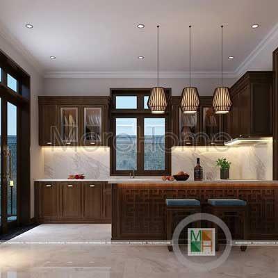 Thiết kế phòng bếp biệt thự gỗ việt