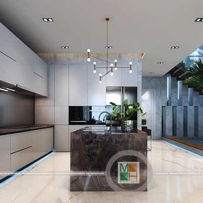 Thiết kế phòng bếp hiện đại biệt thự Nghệ An