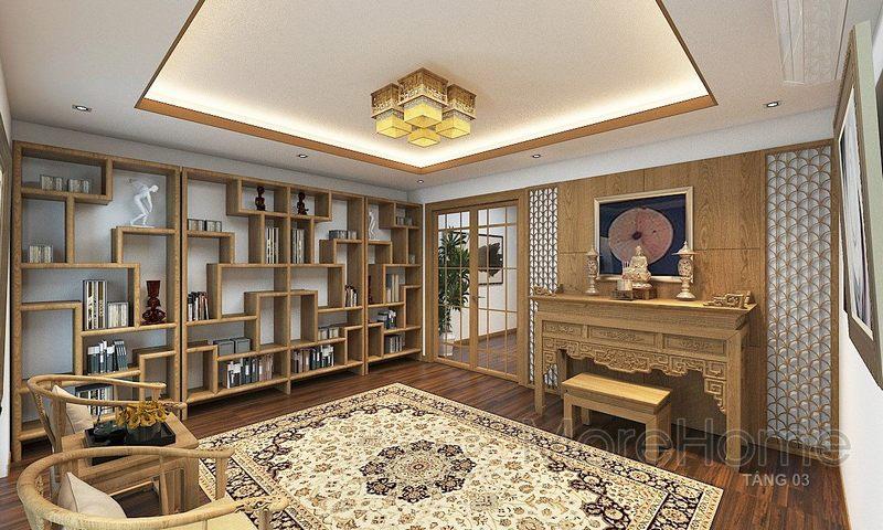 hiết kế nội thất phòng thờ nhà phố Vincom - Rạch Giá Kiên Giang
