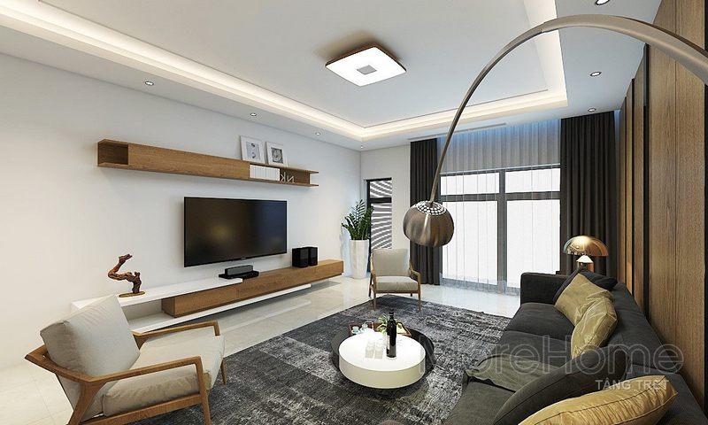 Thiết kế nội thất phòng khách nhà phố Vincom - Rạch Giá Kiên Giang