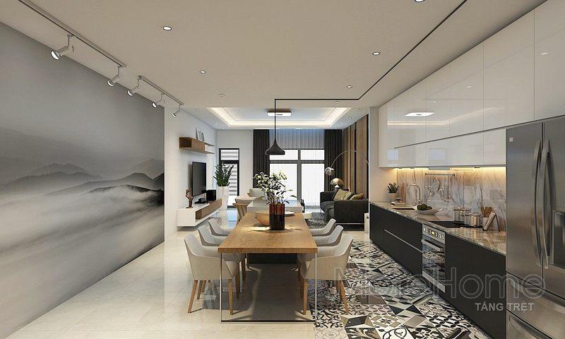 hiết kế nội thất phòng bếp nhà phố Vincom - Rạch Giá Kiên Giang