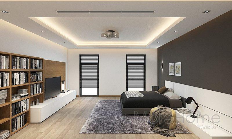 hiết kế nội thất phòng ngủ nhà phố Vincom - Rạch Giá Kiên Giang