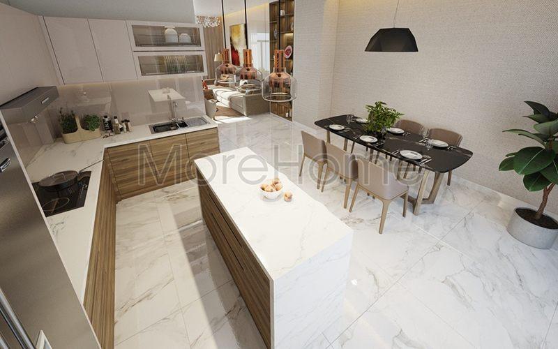 Thiết kế nội thất không gian mở phòng khách và phòng bếp
