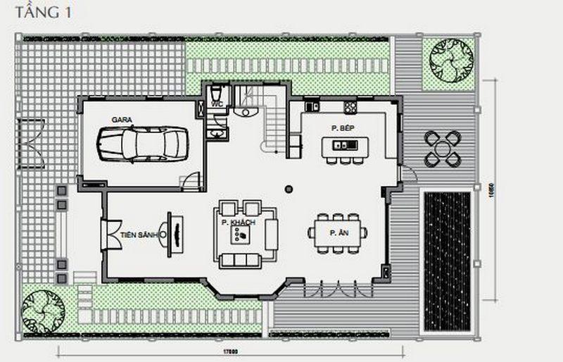 Bản vẽ thiết kế biệt thự tầng 1 biệt thự đơn lập Vinhomes The Harmony