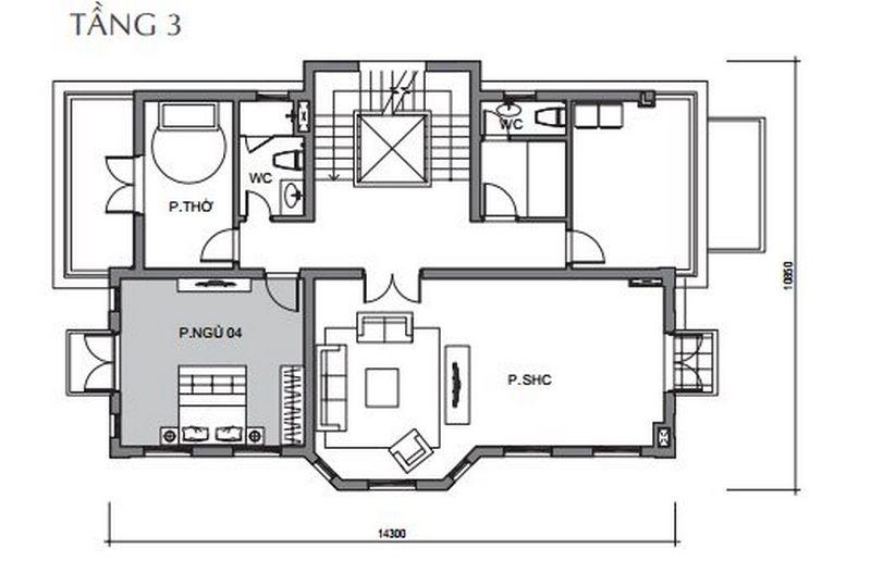 Bản vẽ thiết kế biệt thự tầng 3 biệt thự đơn lập Vinhomes The Harmony