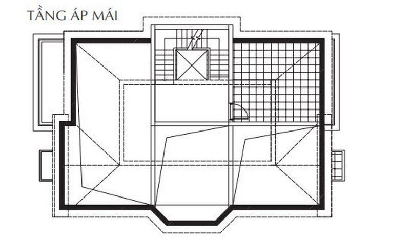 Bản vẽ thiết kế biệt thự tầng áp mái biệt thự đơn lập Vinhomes The Harmony