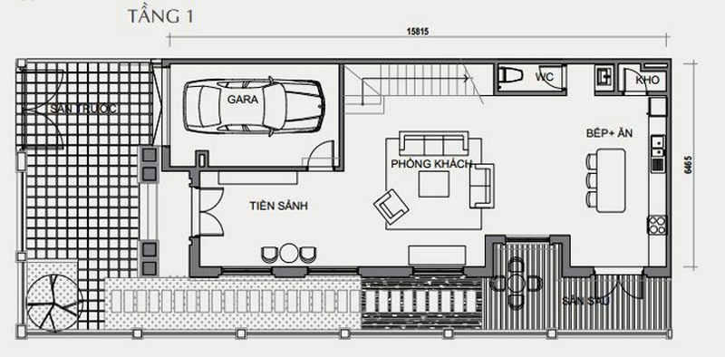 Bản vẽ thiết kế biệt thự tứ lập tầng 1