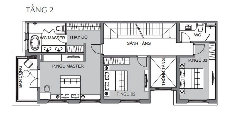Bản vẽ thiết kế biệt thự tứ lập 1 tầng