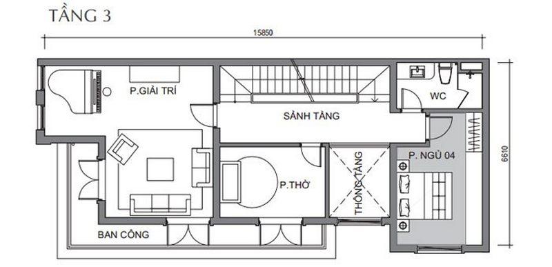 Bản vẽ thiết kế biệt thự tứ lập tầng 2