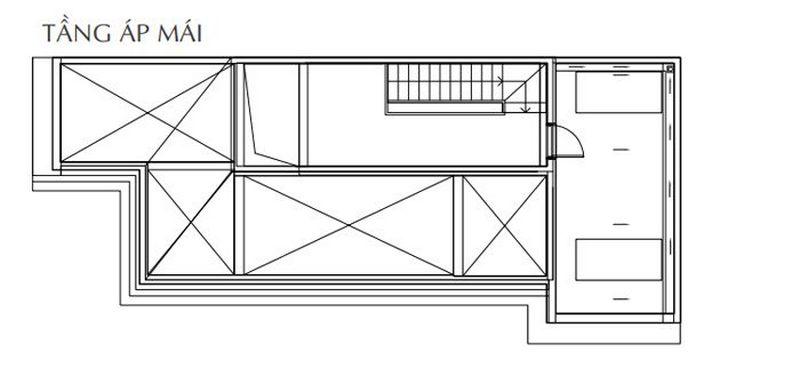 Bản vẽ thiết kế biệt thự tứ lập tầng áp mái