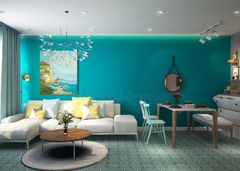 Ấn tượng trước phòng khách biệt thự có màu xanh độc đáo